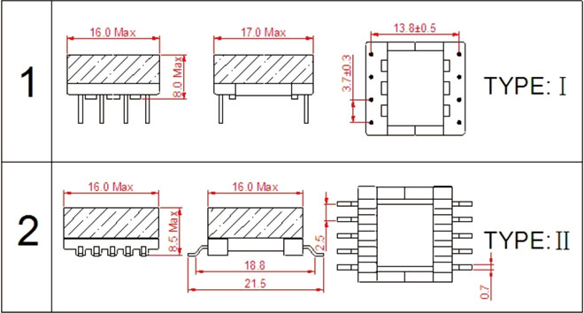 一.EFD15高频变压器尺寸外观图(单位:mm)   *: 以上为公司常用骨架样式,其它款式暂未列入其中,欢迎咨询。本公司可按客户要求定制各种规格EFD15高频变压器。 二.EFD15高频变压器性能 1.工作频率:20kHz-500KHz 2.输出功率:3.0 to 12 W 3.工作温度:-40 to +125 4.储存温度:-25 to +85 5.