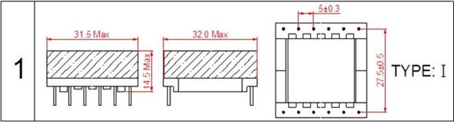 一.EFD30高频变压器尺寸外观图(单位:mm)   *: 以上为公司常用骨架样式,其它款式暂未列入其中,欢迎咨询。本公司可按客户要求定制各种规格EFD30高频变压器。 二.EFD30高频变压器性能 1.工作频率:20kHz-500KHz 2.输出功率:20 to 65 W 3.工作温度:-40 to +125 4.储存温度:-25 to +85 5.