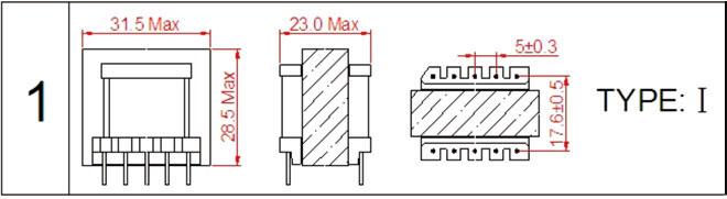 一、EI30高频变压器尺寸外观图(单位:mm)   *: 以上为公司常用骨架样式,其它款式暂未列入其中,欢迎咨询。本公司可按客户要求定制各种规格EI30高频变压器。 二、EI30高频变压器性能 1.工作频率:20kHz-500KHz 2.输出功率:30 to 80 W 3.工作温度:-40 to +125 4.储存温度:-25 to +85 5.
