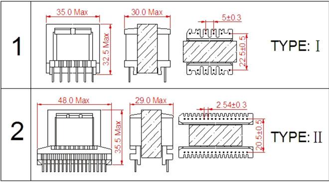 首页 产品中心 高频变压器/开关电源变压器 ei型高频变压器系列 ei33