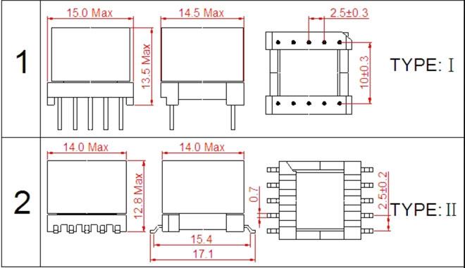 一. EP13高频变压器尺寸外观图(单位:mm)   *: 以上为公司常用骨架样式,其它款式暂未列入其中,欢迎咨询。本公司可按客户要求定制各种规格EP13高频变压器。 二. EP13高频变压器性能 1.工作频率:20kHz-500KHz 2.输出功率:5.0 to 15.0 W 3.工作温度:-40 to +125 4.储存温度:-25 to +85 5.