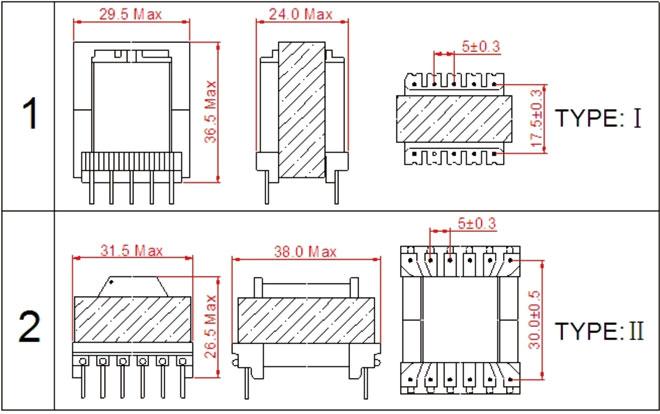 一. ERL28高频变压器尺寸外观图(单位:mm)   *: 以上为公司常用骨架样式,其它款式暂未列入其中,欢迎咨询。本公司可按客户要求定制各种规格ERL28高频变压器。 二.ERL28高频变压器性能 1.工作频率:20kHz-500KHz 2.输出功率:30 to 150 W 3.工作温度:-40 to +125 4.储存温度:-25 to +85 5.