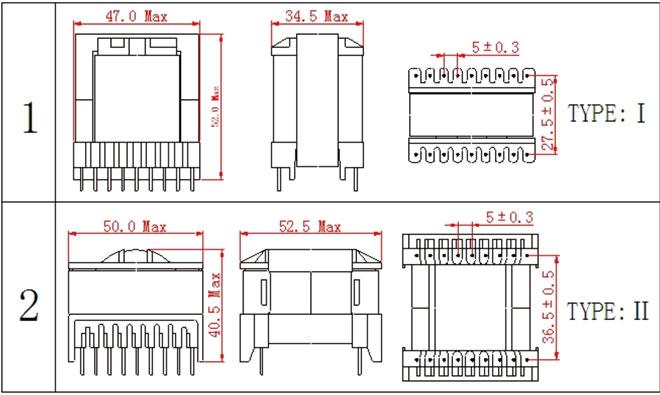 一.ETD44高频变压器尺寸外观图(单位:mm)   *: 以上为公司常用骨架样式,其它款式暂未列入其中,欢迎咨询。本公司可按客户要求定制各种规格ETD44高频变压器。 二.ETD44高频变压器性能 1.工作频率:50kHz-500KHz 2.输出功率:20 to 800 W 3.工作温度:-40 to +125 4.储存温度:-25 to +85 5.