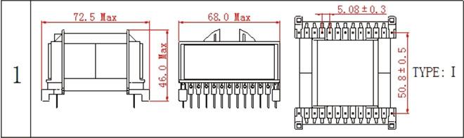 一. ETD59高频变压器尺寸外观图(单位:mm)   *:以上为公司常用骨架样式,其它款式暂未列入其中,欢迎咨询。本公司可按客户要求定制各种规格ETD59高频变压器。 二. ETD59高频变压器性能 1.工作频率:20kHz-500KHz 2.输出功率:400 to 2000 W 3.工作温度:-40 to +125 4.储存温度:-25 to +85 5.