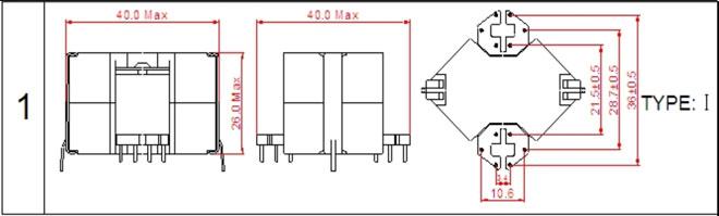 一. RM12高频变压器尺寸外观图(单位:mm)   *:以上为公司常用骨架样式,其它款式暂未列入其中,欢迎咨询。本公司可按客户要求定制各种规格RM12高频变压器。 二. RM12高频变压器性能 1.工作频率:20kHz-500KHz 2.输出功率:40 to 140 W 3.工作温度:-40 to +125 4.储存温度:-25 to +85 5.