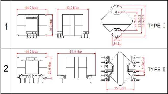 一. RM14高频变压器尺寸外观图(单位:mm)   *:以上为公司常用骨架样式,其它款式暂未列入其中,欢迎咨询。本公司可按客户要求定制各种规格RM14高频变压器。 二. RM14高频变压器性能 1.工作频率:20kHz-500KHz 2.输出功率:80 to 250 W 3.工作温度:-40 to +125 4.储存温度:-25 to +85 5.